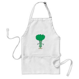 dibujo animado tonto feliz del bróculi delantales