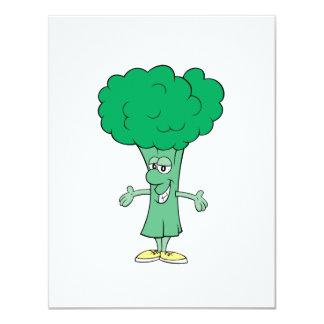 """dibujo animado tonto feliz del bróculi invitación 4.25"""" x 5.5"""""""
