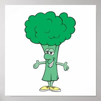 dibujo animado tonto feliz del bróculi póster