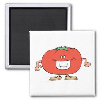 dibujo animado tonto feliz del tomate imán cuadrado