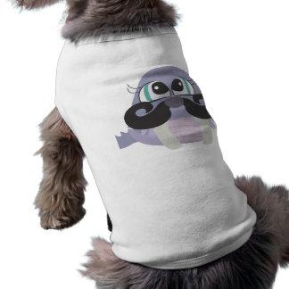 dibujo animado tonto lindo de la morsa con el bigo playera sin mangas para perro