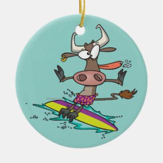 dibujo animado tonto lindo de la vaca de la adorno navideño redondo de cerámica