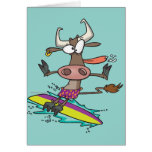 dibujo animado tonto lindo de la vaca de la tarjeta de felicitación