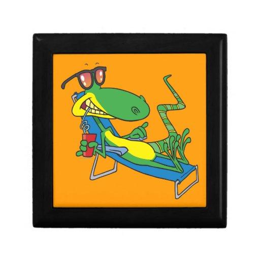 dibujo animado tonto lindo del lagarto del sol que joyero cuadrado pequeño