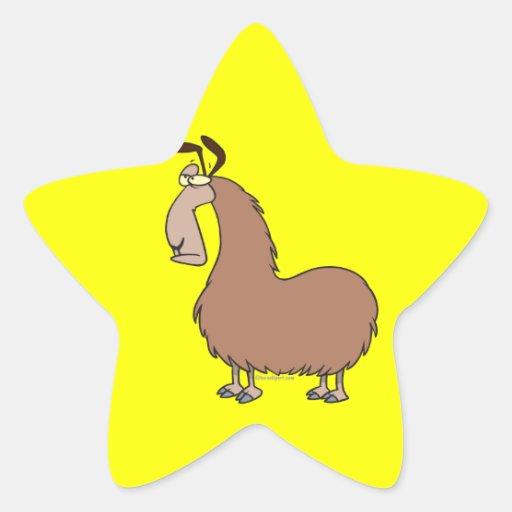 dibujo animado torpe de la llama colcomanias forma de estrella