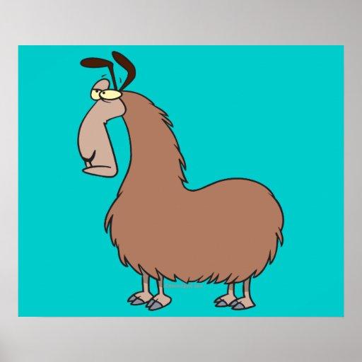 dibujo animado torpe de la llama posters