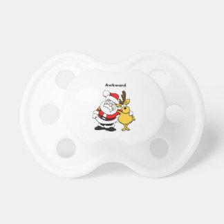 Dibujo animado torpe de Santa y del reno Chupete De Bebé