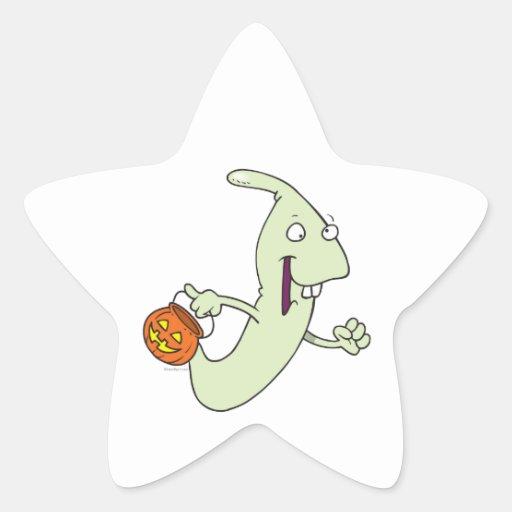 dibujo animado torpe del fantasma del truco o de pegatina en forma de estrella