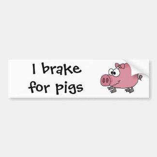 Dibujo animado torpe divertido del cerdo pegatina de parachoque