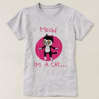 Dibujo animado torpe divertido del gatito playera