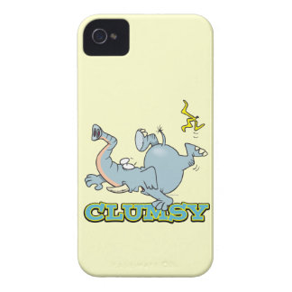 dibujo animado torpe lindo del elefante Case-Mate iPhone 4 protectores