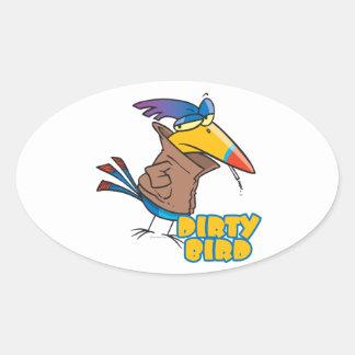 dibujo animado toucan travieso del pájaro sucio pegatina ovalada
