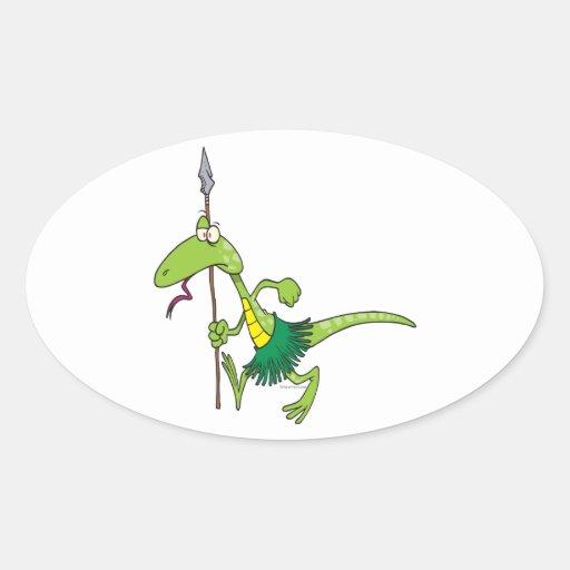 dibujo animado tribal del lagarto de la tribu pegatina ovalada
