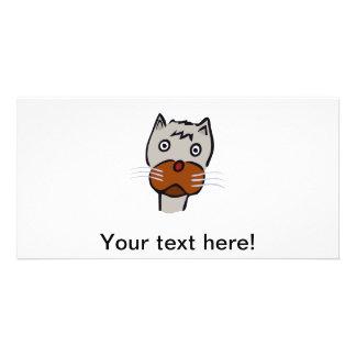 Dibujo animado triste del gato tarjeta personal con foto