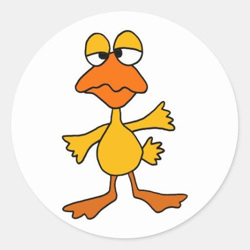 Dibujo animado triste divertido del pato pegatina redonda