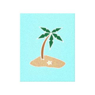 Dibujo animado tropical de la playa de la isla de  impresión en lona estirada