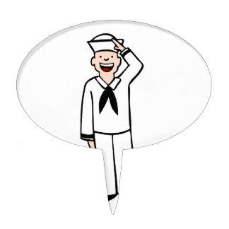 Dibujo animado uniforme del hombre de la marina de palillos de tarta