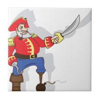 Dibujo animado valiente del capitán azulejo cuadrado pequeño