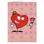 dibujo animado vday tonto del corazón que da rosas tarjeta de felicitación