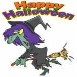 dibujo animado verde de la bruja del feliz Hallowe Esculturas Fotograficas