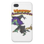 dibujo animado verde de la bruja del feliz Hallowe iPhone 4 Carcasa