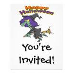 dibujo animado verde de la bruja del feliz Hallowe Invitacion Personal