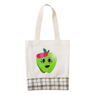 Dibujo animado verde de la manzana bolsa tote zazzle HEART