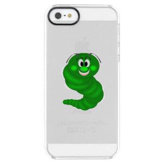 Dibujo animado verde de la oruga funda clearly™ deflector para iPhone 5 de uncommon