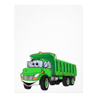 Dibujo animado verde del árbol del camión volquete membrete personalizado