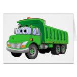 Dibujo animado verde del árbol del camión volquete tarjeta