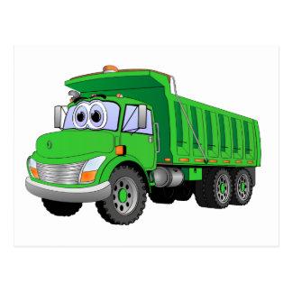 Dibujo animado verde del árbol del camión volquete tarjeta postal