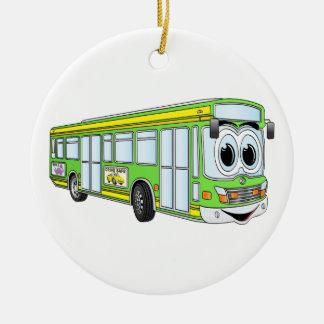 Dibujo animado verde del autobús de la ciudad adorno navideño redondo de cerámica