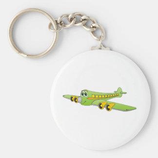 Dibujo animado verde del avión de pasajeros llavero redondo tipo pin
