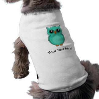 Dibujo animado verde del búho playera sin mangas para perro