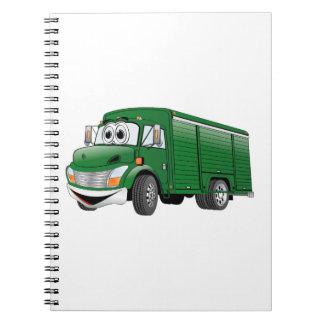 Dibujo animado verde del camión de la bebida spiral notebook