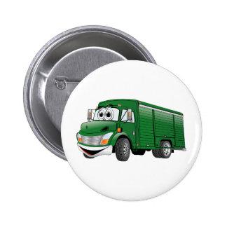 Dibujo animado verde del camión de la bebida chapa redonda 5 cm