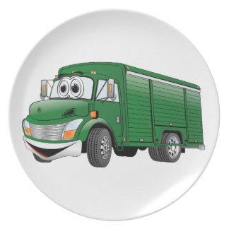 Dibujo animado verde del camión de la bebida plato de cena