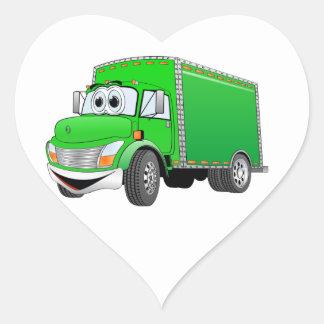 Dibujo animado verde del camión de reparto pegatina en forma de corazón