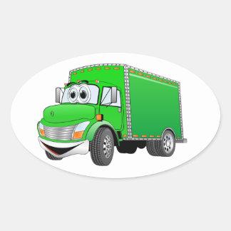 Dibujo animado verde del camión de reparto pegatina ovalada