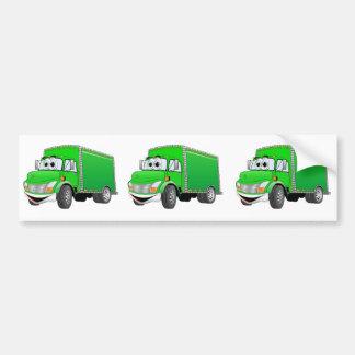 Dibujo animado verde del camión de reparto pegatina para auto