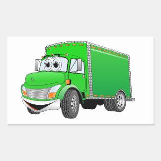 Dibujo animado verde del camión de reparto pegatina rectangular