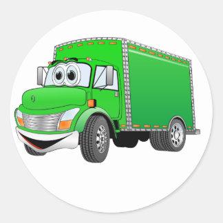 Dibujo animado verde del camión de reparto pegatina redonda