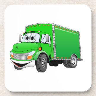Dibujo animado verde del camión de reparto posavaso