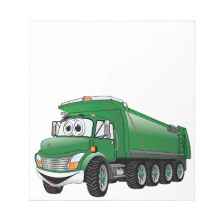 Dibujo animado verde del camión volquete 10w bloc de notas
