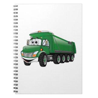 Dibujo animado verde del camión volquete 10w libros de apuntes