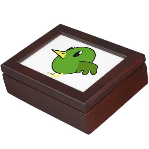 Dibujo animado verde del pájaro caja de recuerdos