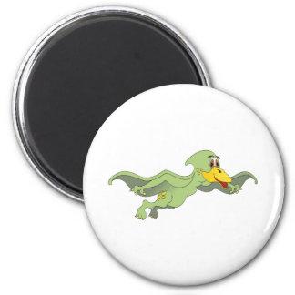 Dibujo animado verde del Pterodactyl Imán Redondo 5 Cm