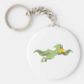 Dibujo animado verde del Pterodactyl Llavero Redondo Tipo Pin