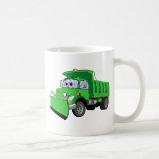 Dibujo animado verde del quitanieves tazas