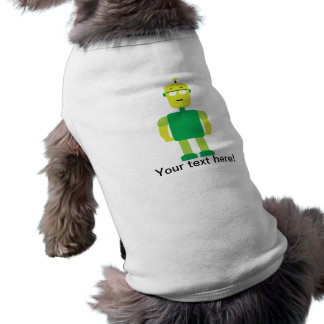 Dibujo animado verde del robot playera sin mangas para perro